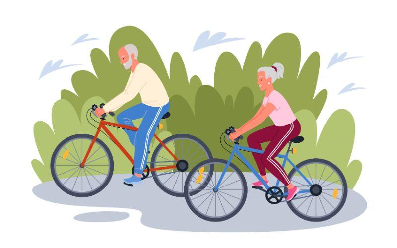 Vektorgrafik von zwei Senioren, die zusammen Fahrrad fahren