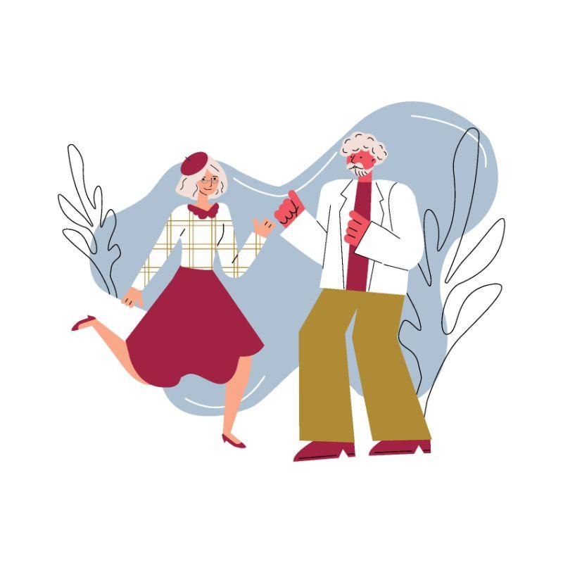 Vektorgrafik von zwei lustigen Senioren die gemeinsam tanzen
