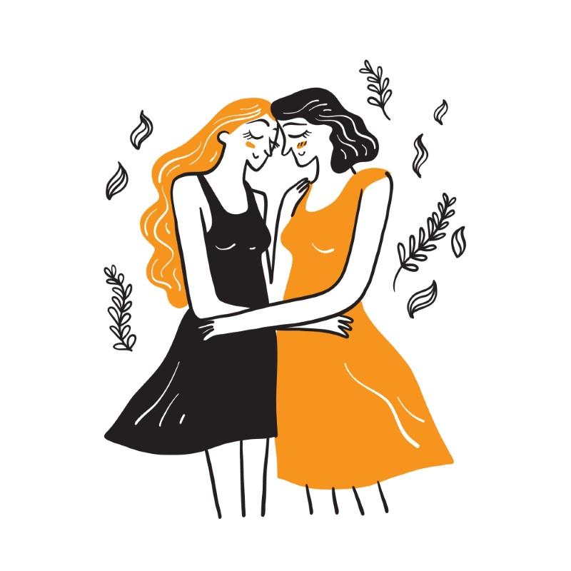 zwei illustrierte Bi-Frauen, die sich gegenseitig umarmen