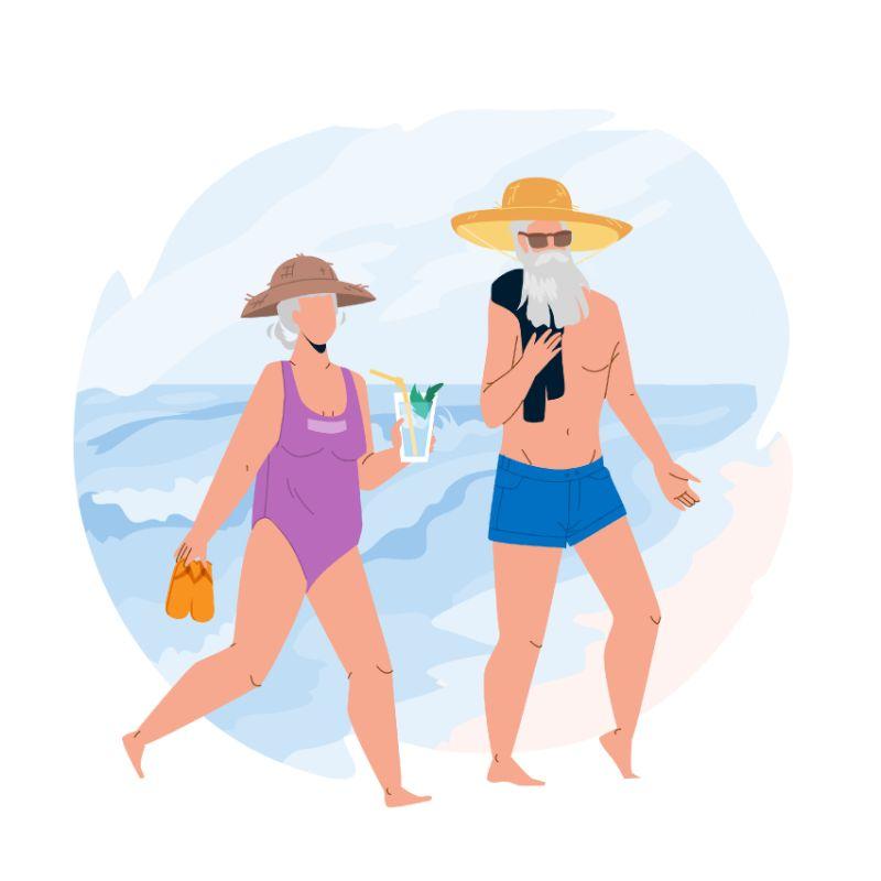 Vektorgrafik von zwei Senioren am Strand