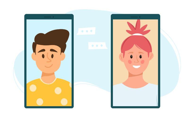 Vektorgrafik von zwei Handys die ein Mädchen und einen Jungen zeigen