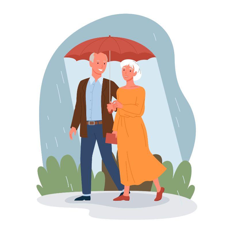 Vektorgrafik von zwei Senioren, die im Regen unter einem Regenschirm spazieren gehen