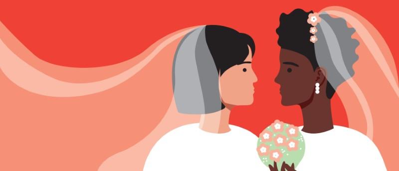 zwei weibliche Bräute Vektorgrafik