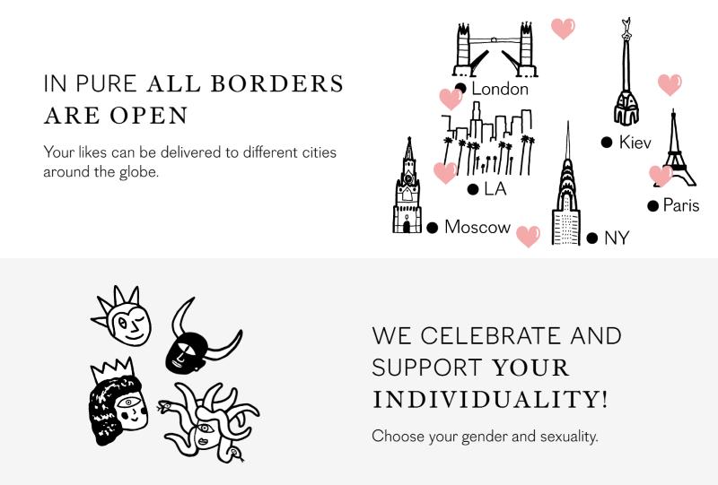 Screenshot der Pure Dating-Webseite