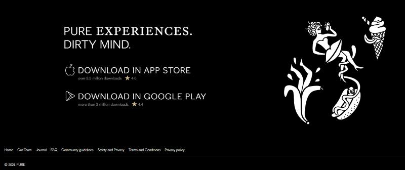 Screenshot der Pure-Dating-App Verfügbarkeit in App Stores