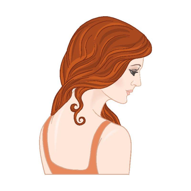 Illustration einer nach unten blickenden Frau