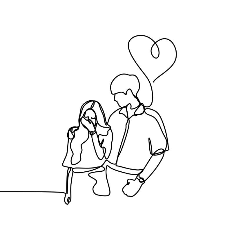 Strichzeichnung von einem Mann mit einem Herz, der seine Freundin tröstet