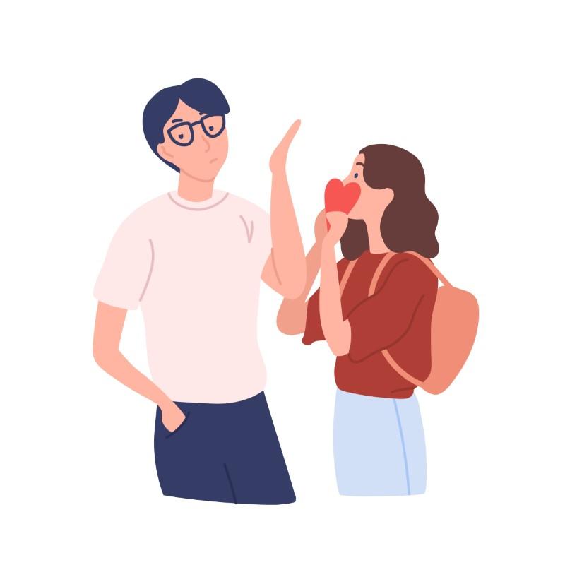 Illustration eines Mannes mit Brille der eine Frau ablehnt, die ihm ihr Herz schenkt