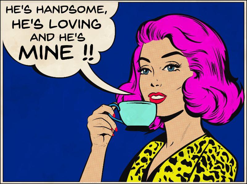 Frau im Comic-Stil mit einer Tasse Tee, die über ihren Schwarm spricht