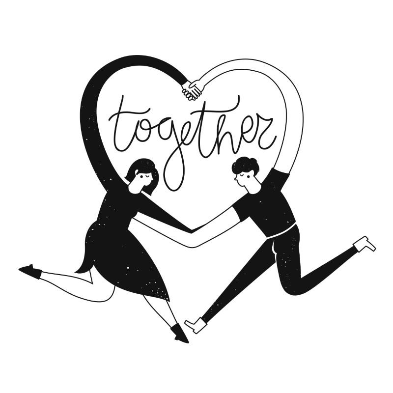 Vektorgrafik von zwei Menschen die mit ihren Armen ein Herz bilden