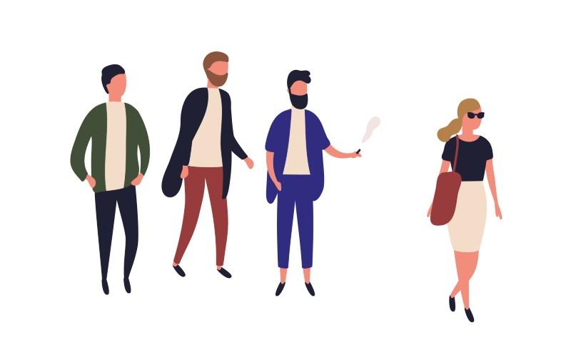 Vektorgrafik von Männern, die einer Frau hinterherschauen