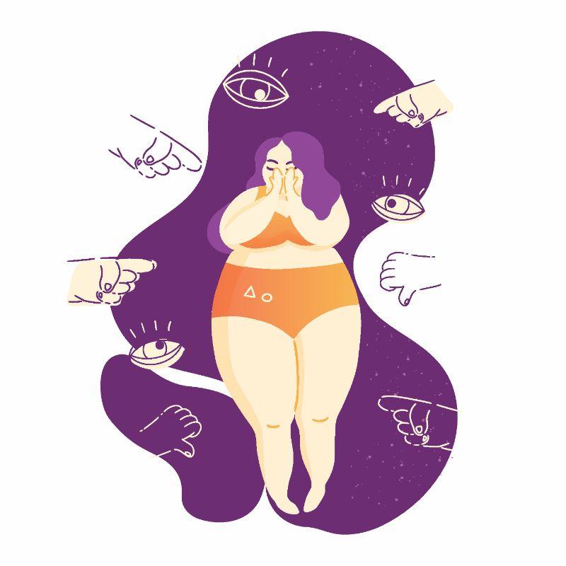 Vektorgrafik einer kurvigen Frau, die diskriminiert wird