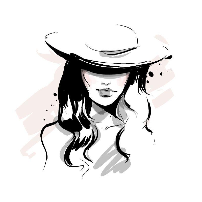 Illustration einer Frau mit einem Hut