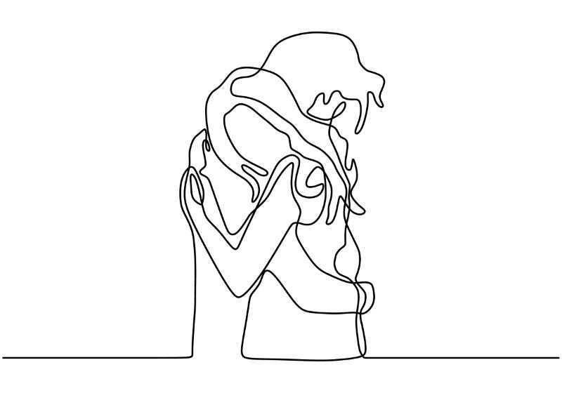 Strichzeichnung eines sich umarmenden Paares
