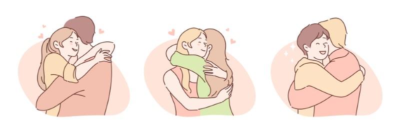 Paare unterschiedlichen Geschlechts, die sich umarmen