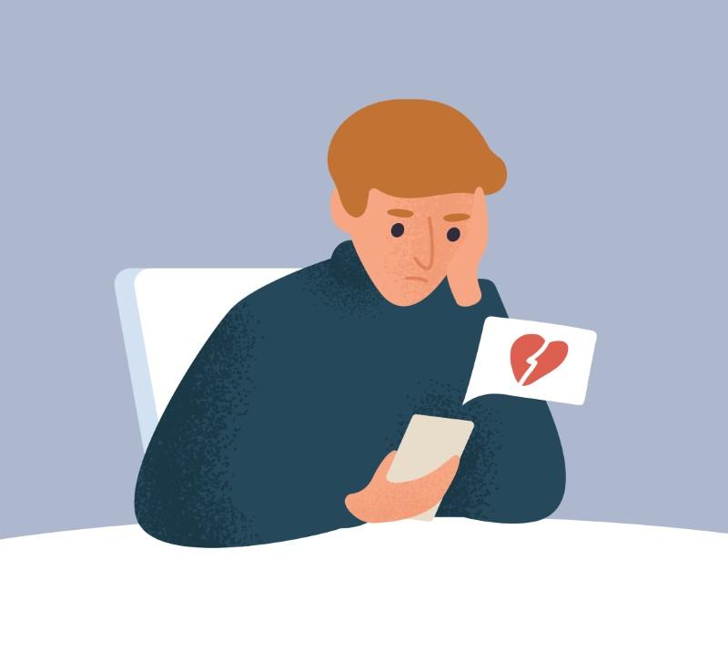 Illustration eines Mannes, der an seinem Telefon sitzt und mit einer Ablehnung konfrontiert wird