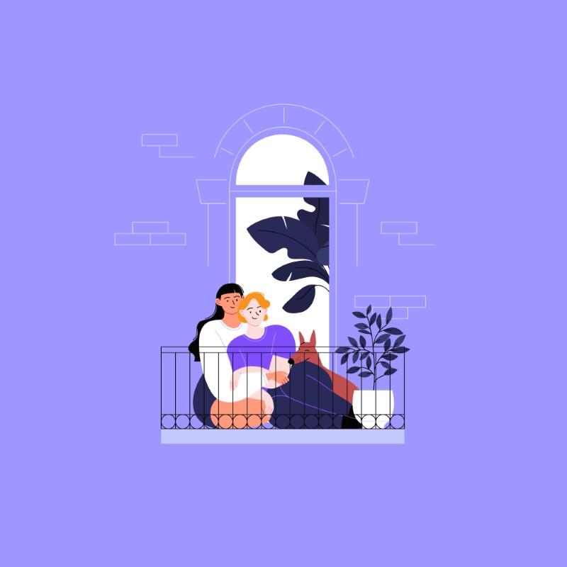 Illustration eines queeren Paares mit einem Hund, das auf einem Balkon sitzt