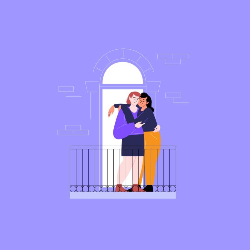 Vektorgrafik von zwei Frauen auf dem Balkon, die sich umarmen