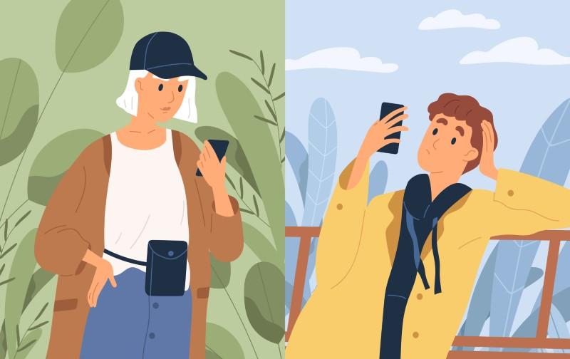 Illustration eines Mannes und eines Mädchens, die per Telefon kommunizieren