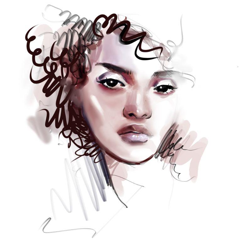 Vektorgrafik einer Frau mit lockigem Haar