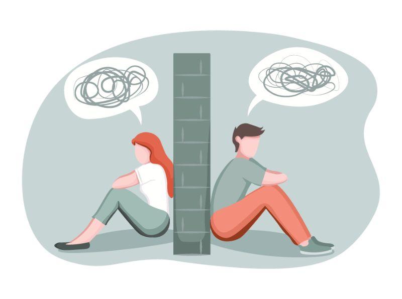 Vektorgrafik eines Mannes und einer Frau, die auf verschiedenen Seiten einer Wand sitzen und Unsinn reden