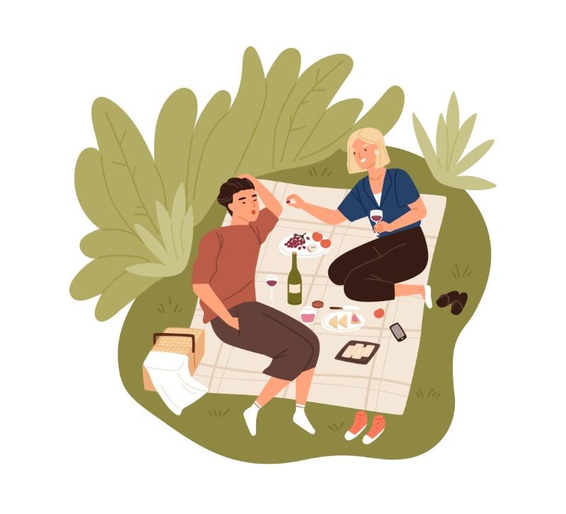 Vektorgrafik von zwei Menschen, die ein Picknick als ihr erstes Date haben