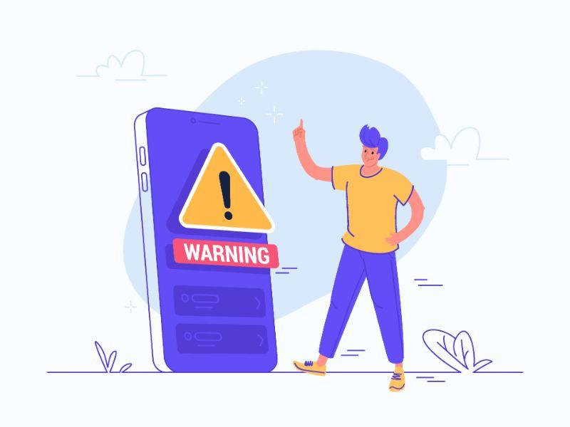 Vektorgrafik einer Person neben einem Telefon, das eine Warnung zeigt