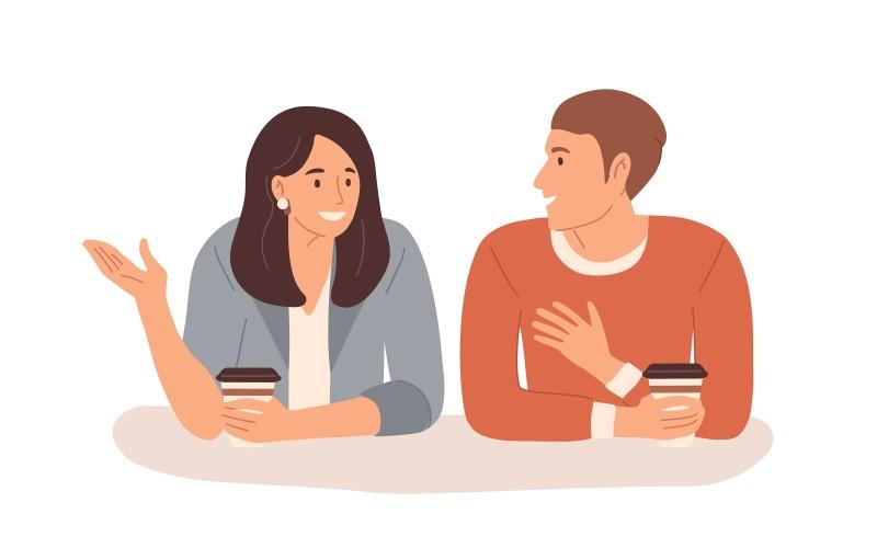 Vektorgrafik von zwei Menschen im Gespräch bei einer Tasse Kaffee