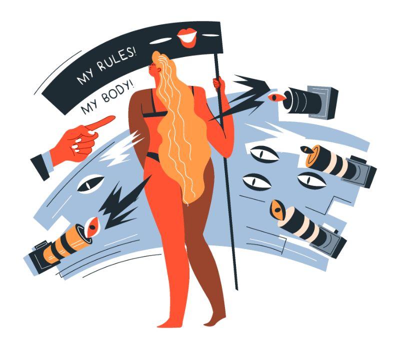 Vektorgrafik einer Frau, die für die Befreiung ihres Körpers protestiert
