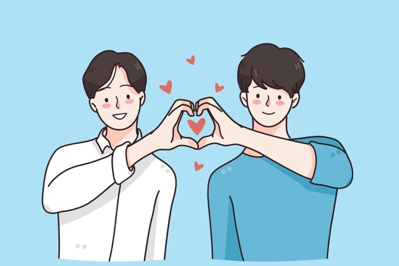 Vektorgrafik von zwei Männern, die mit ihren Händen ein Herz bilden