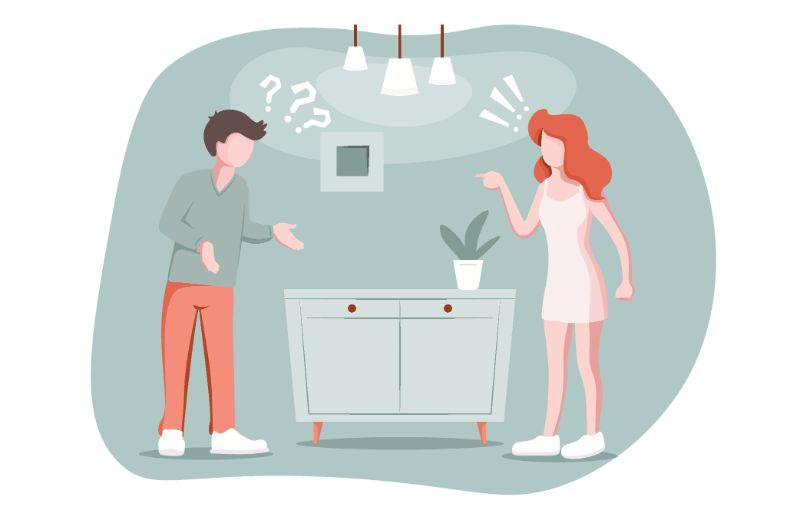 Vektorgrafik eines streitenden Paares