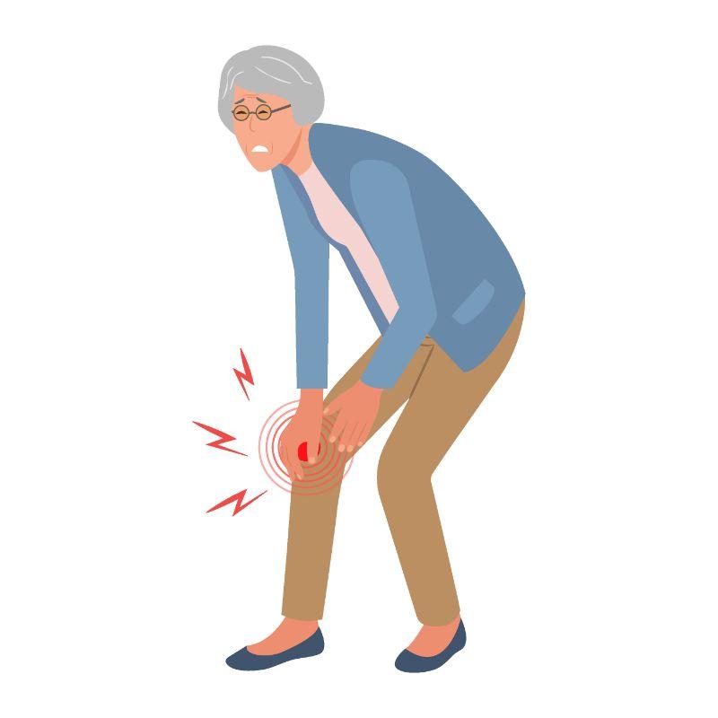 Vektorgrafik einer älteren Frau, der ihr Bein weh tut