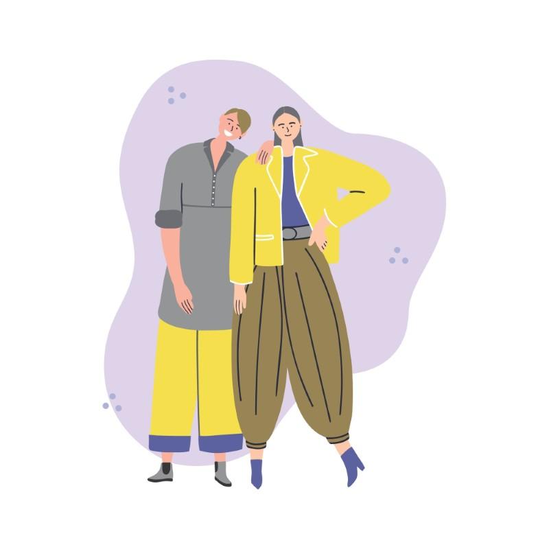Vektorgrafik eines geschlechtsspezifischen Paares