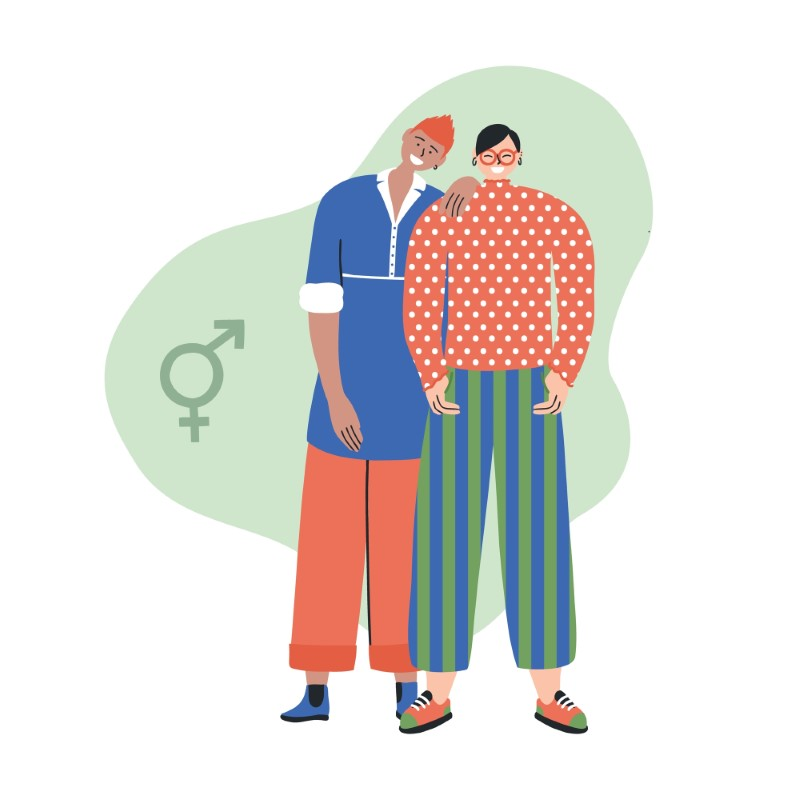 Illustration eines geschlechtsspezifischen Paares