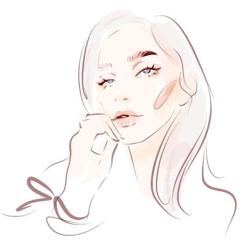 Illustration einer Frau mit langen Haaren