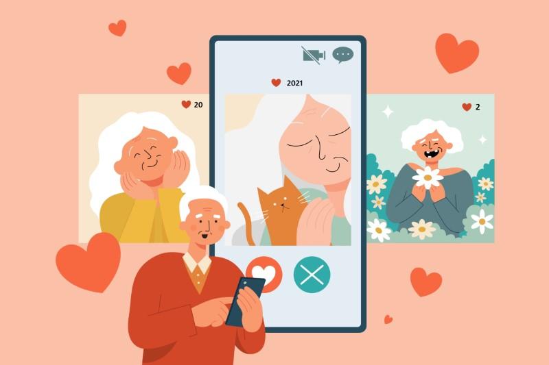 Illustration eines Senioren, der durch Dating-Profile scrollt