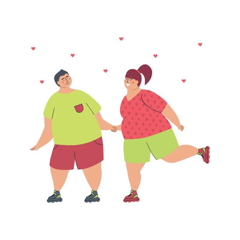 Illustration eines Plus-Size-Paares beim Rollschuhlaufen