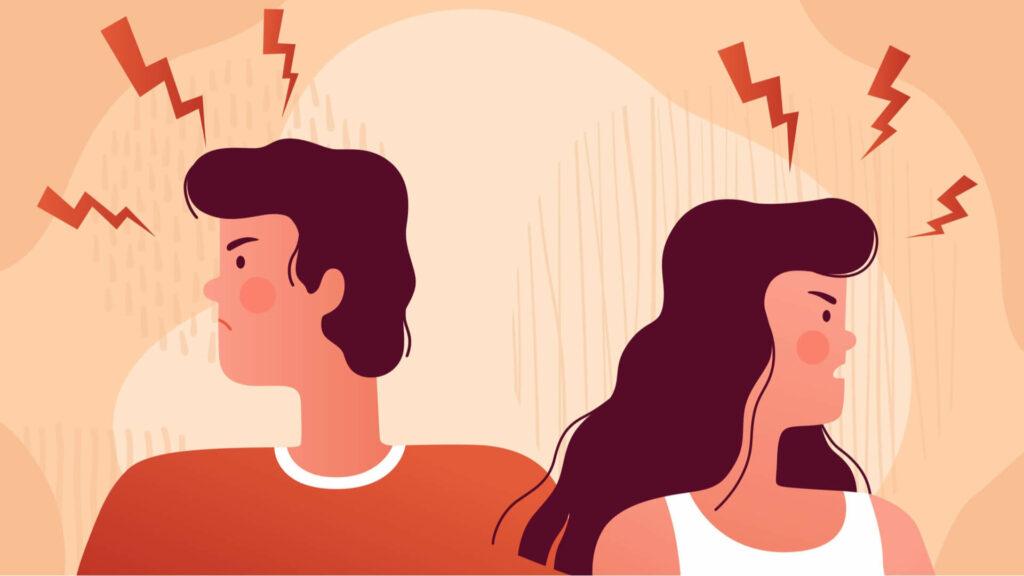 Illustration eines Mannes und einer Frau im Konflikt