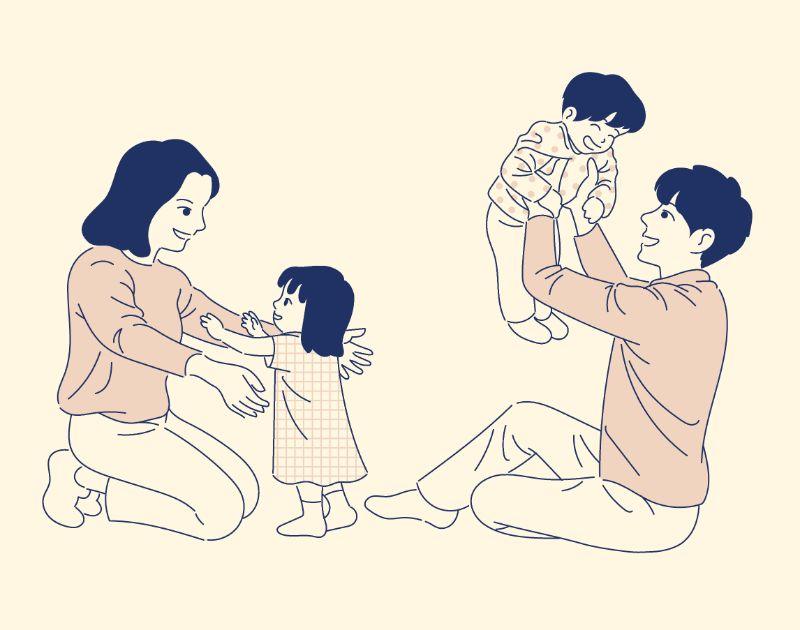 Illustration einer glücklichen Familie mit zwei Kindern