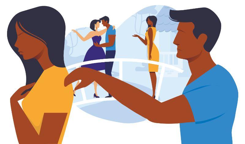 Vektorgrafik eines Mannes der versucht mit seiner Frau zu reden, nachdem sie ihn bei einer Affäre erwischt hat