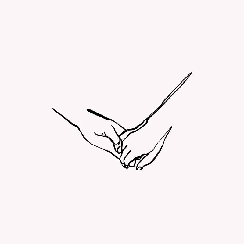 Strichgrafik von zwei sich haltenden Händen