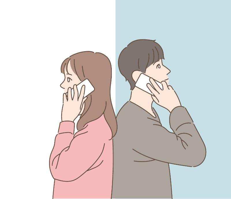Illustration eines Paares, das am Telefon miteinander spricht
