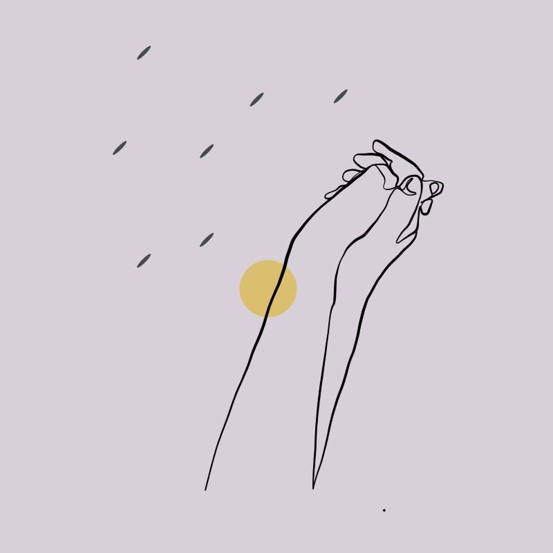 Linienkunst von Händen, die sich gegenseitig halten