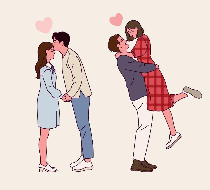 Illustration von zwei verliebten Paaren