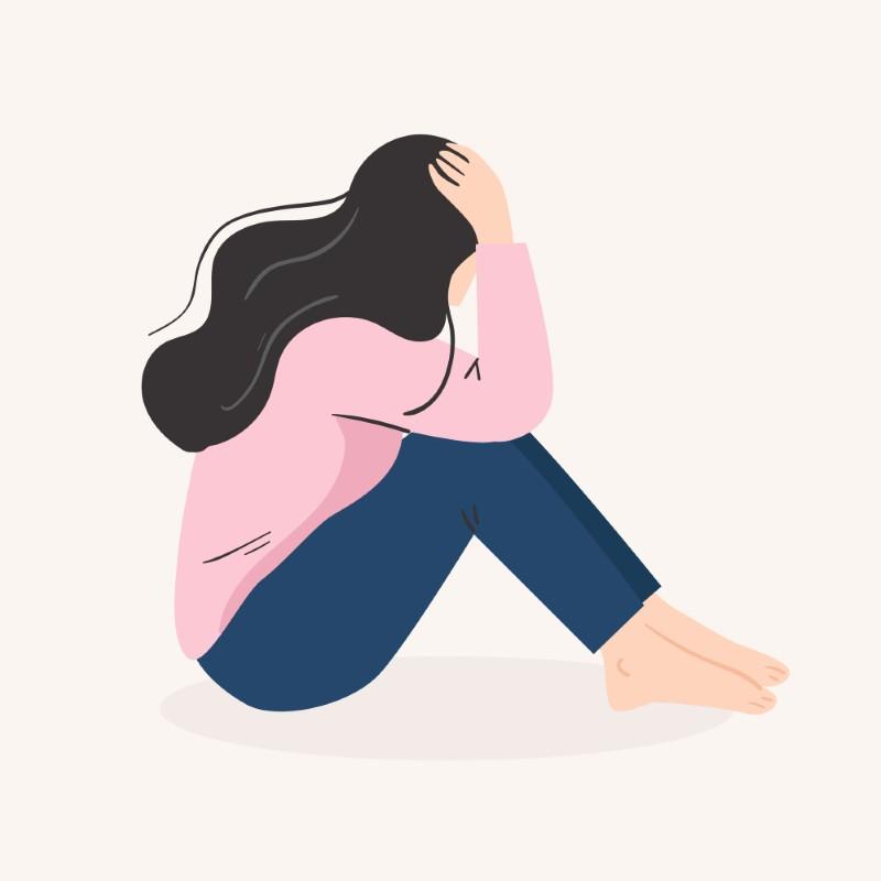 Illustration einer traurigen Frau