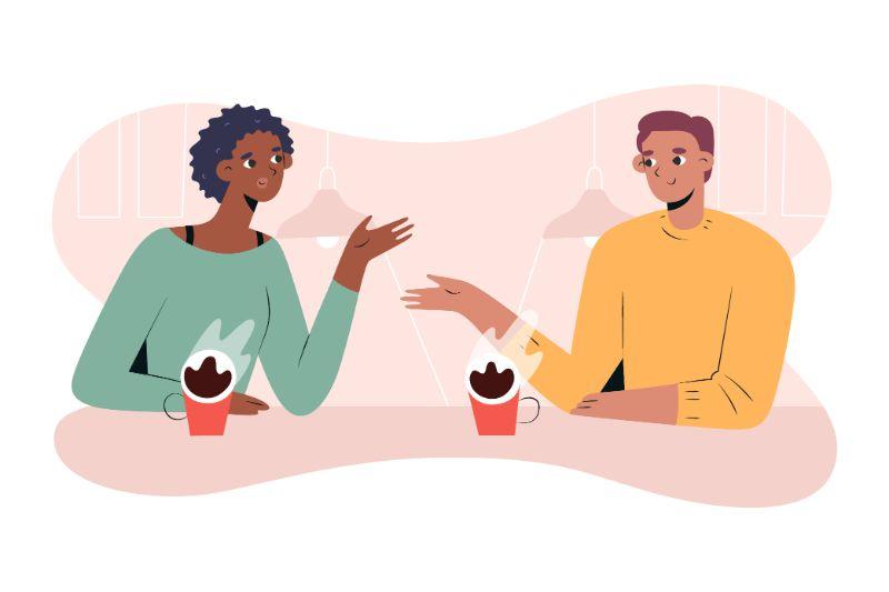 Illustration von zwei Personen bei einer Verabredung zum Kaffee