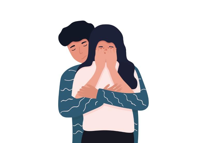 Vektorgrafik von einem Mann, der eine Frau tröstet