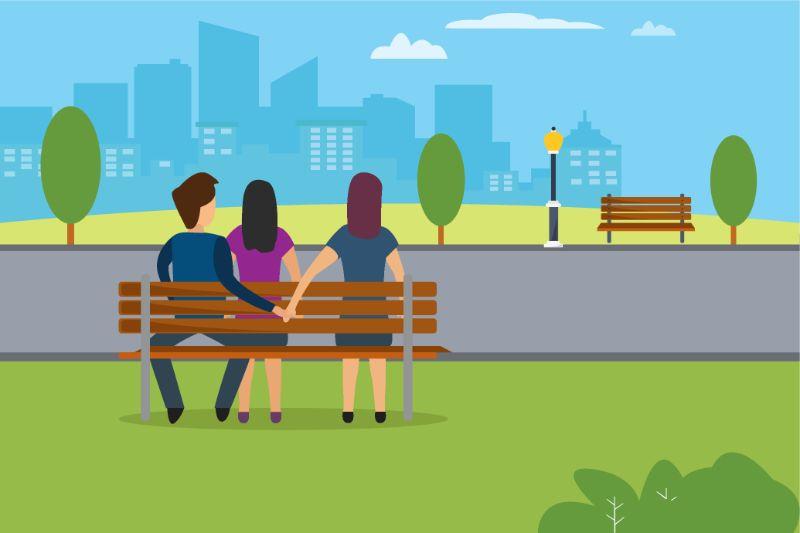 Vektorgrafik von zwei Frauen und einem Mann auf einer Bank sitzend, während der Mann Händchen mit der zweiten Frau hält