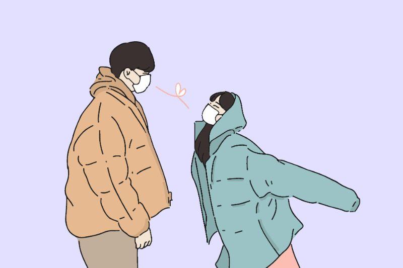 Illustration eines asiatischen Paares mit Masken beim Flirten