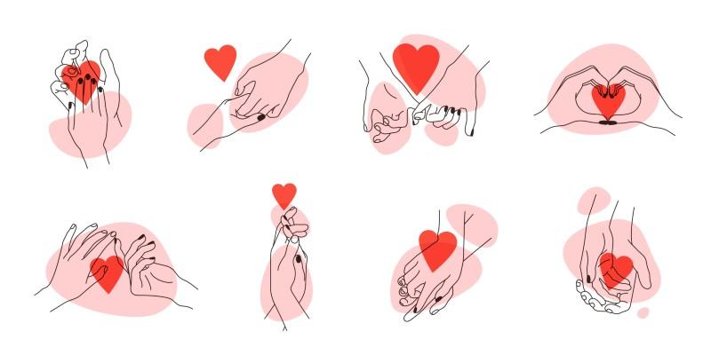 Zusammenstellung von Strichzeichnungen von sich gegenseitig haltenden Händen mit Herzen